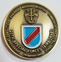 Army Green Berets 20th Special Forces Airborne DeOppresso Liber Challenge Coin - $148.49