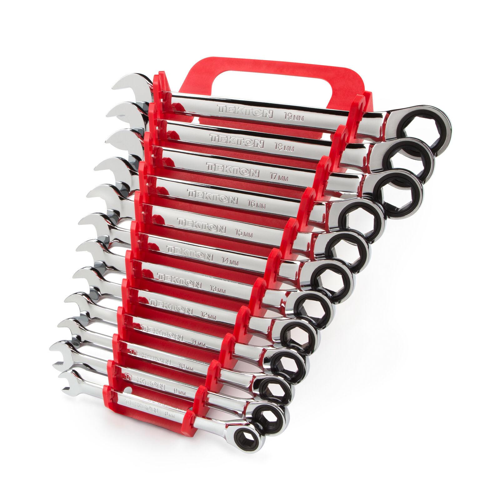 TEKTON Flex Ratcheting Combination Wrench Set, 12-Piece (8-19 mm) - Holder  - $148.49