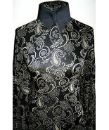Black and Gold Metallic Knit Exotic Paisley Print Lycra Stretch Fabric 1... - $36.00
