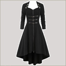 Retro Gothic Long Cuffed Sleeves 3 Bust Straps Zip Up Asymmetrical Hem Dress image 5