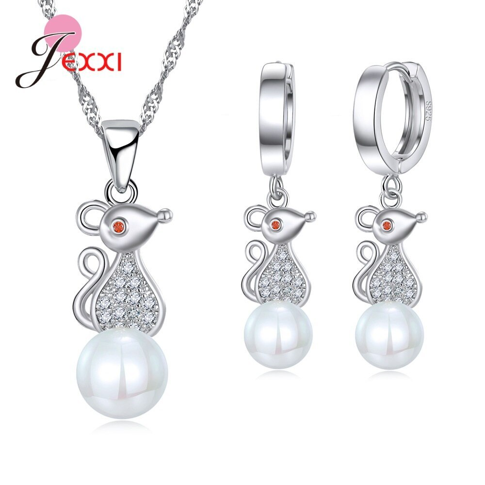 Primary image for New Attractive Popular Elegant 925 Sterling Silver White Pearl Jewelry Set for W