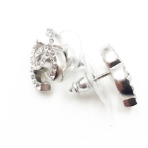 Authentic Chanel CC Logo Crystal Strass Silver Stud Earrings  image 3
