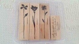 4 STAMPIN'UP WOODEN RUBBER MOUNTED INK STAMP SET EASY ELEGANCE,2005,3-4.... - $7.56