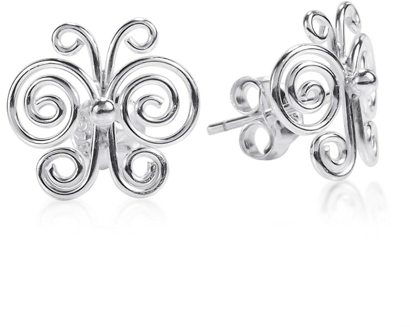 Primary image for Enchanted Swirls Butterfly .925 Sterling Silver Post Earrings