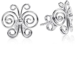 Enchanted Swirls Butterfly .925 Sterling Silver Post Earrings - $45.04