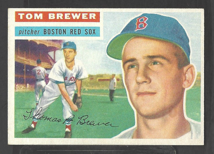 Primary image for 1956 Topps Baseball Card # 34 Boston Red Sox Tom Brewer Grey Back Variation
