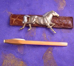 Extra Large Horse & Leather Tie Clip Vintage Convertible Leather Covering Design - $90.00