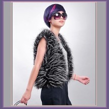Puff Peacock Feather Faux Fur Fashion Medium Length Vests - Fashion Fun! image 2