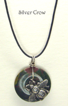 Bloodstone Donut Silver Tone Bee Pendant Necklace - $14.99