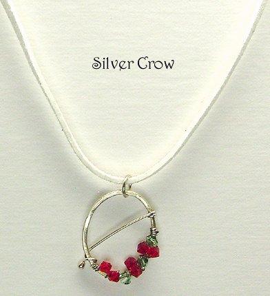 Swarovski Crystal & Argentium Sterling Silver Wreath Style Pendant Necklace
