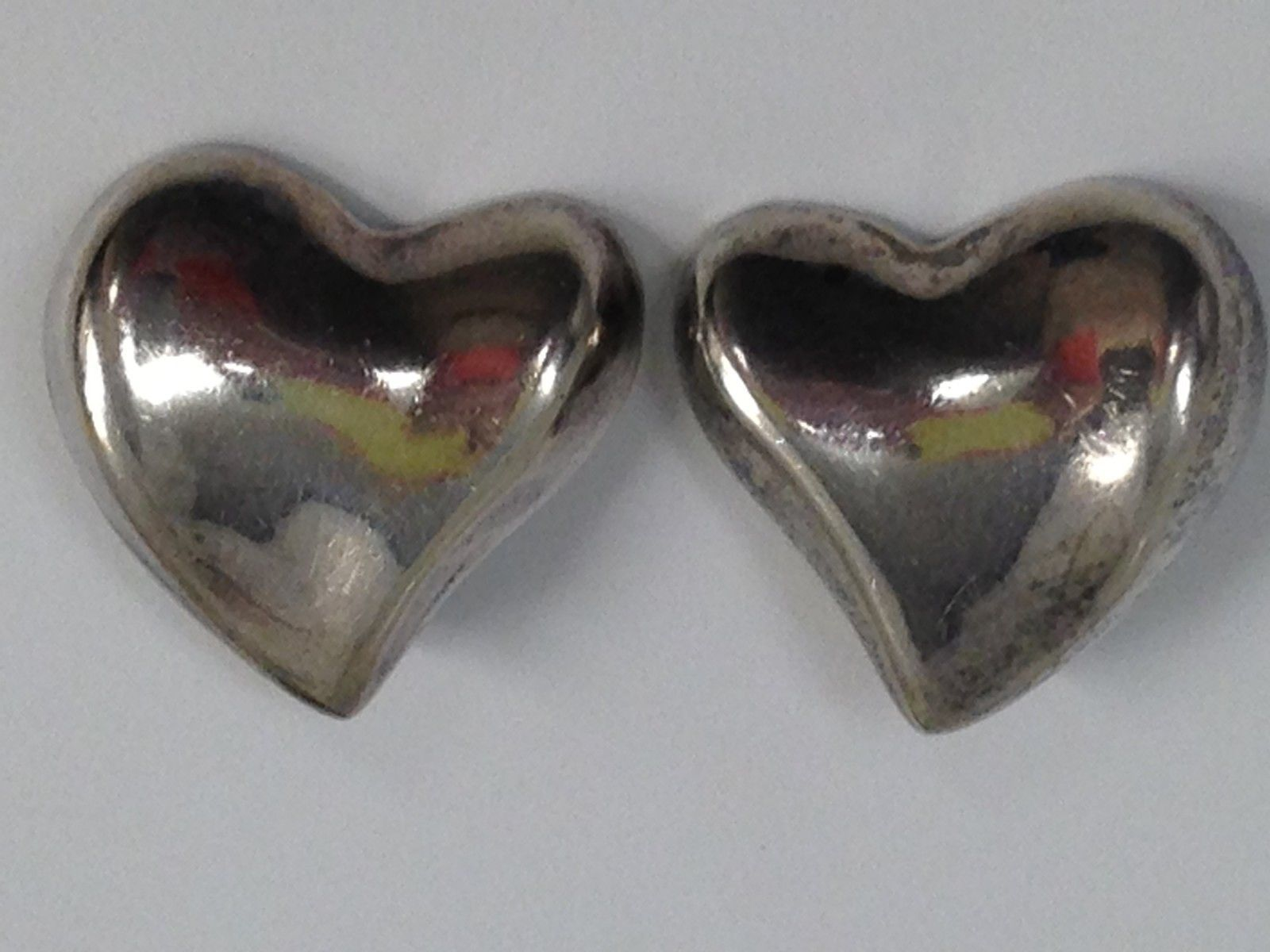 Primary image for VINTAGE 925 MEXICO HEART STERLING SILVER EARRINGS
