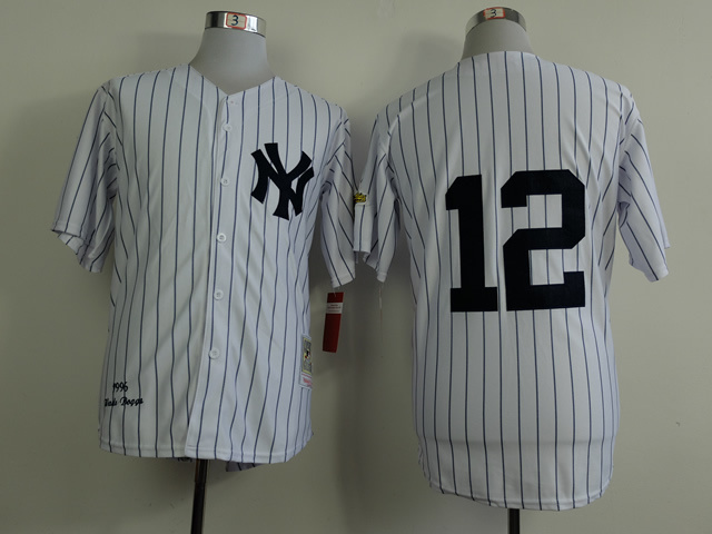 Number 12 Wade Boggs Jerseys New York Yankees White Pinstripe t shirts, used for sale  USA