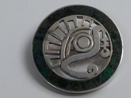 VINTAGE STERLING SILVER TAXCO MEXICO TURQUOISE INLAY PIN 13+ g - $34.64