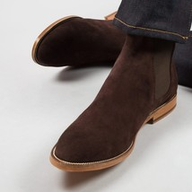 Handmade Men's Chocolate Brown Suede Chelsea High Ankle Boots image 1