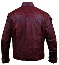 Star Lord Guardians Galaxy Vol 2 Biker Style Distressed Maroon PU Leather Jacket image 2