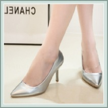 """Shiny PU Leather Classic Red Silver or Black Cone Toe 3.5"""" Spike High Heel Pumps image 2"""