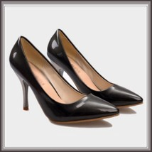 """Shiny PU Leather Classic Red Silver or Black Cone Toe 3.5"""" Spike High Heel Pumps image 3"""