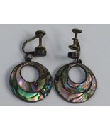 VINTAGE STERLING SILVER ABALONE EARRINGS MARKED TAXCO HECHO EN MEXICO 92... - $39.59
