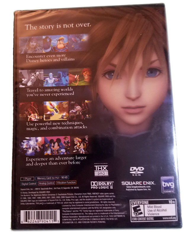 Kingdom Hearts II / 2 Brand New Sealed Black Label Playstation 2 Game * Disney