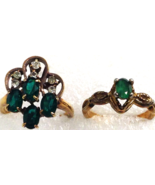 2 VINTAGE GREEN CLEAR CZ COCKTAIL RINGS s  6 and 7 CHRISTMAS - $19.79