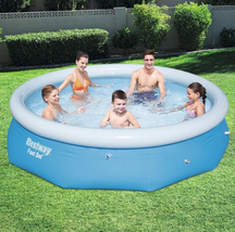 Bestway 10 ft. Round 30 in. Deep Easy Set Inflatable Pool, Blues image 1