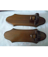 Pair (2) Wood Candle Sconces! Brown Walnut Shade, Beautiful Design! NICE - $24.74