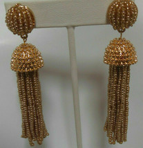 Signed BaubleBar Long Gold-tone Beaded Tassel Earrings - $31.68
