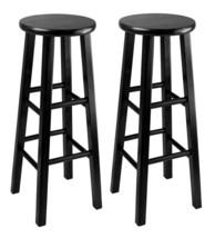 Kitchen Bar Stool 2 Set Black Classic Wood Pub Counter Chair Home Seat F... - £55.43 GBP