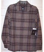 NWT Claiborne Men's Brown Plaid Lined Part Wool Casual Jacket, S, $125 - $45.00
