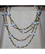 Vintage beaded chain cats eye necklace multiple strand hanging lamp thumbtall