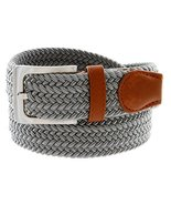 Braided Elastic Fabric Woven Stretch Belt Leather Inlay (Gray, Large) - $12.95