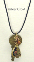 Vintage Key Necklace Cloisonne & Brass Bow Charms - $14.99