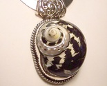 Genuine SEA SHELL Sterling Silver Pendant Slide HANDMADE in USA