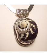 Genuine SEA SHELL Sterling Silver Pendant Slide HANDMADE in USA - $295.00