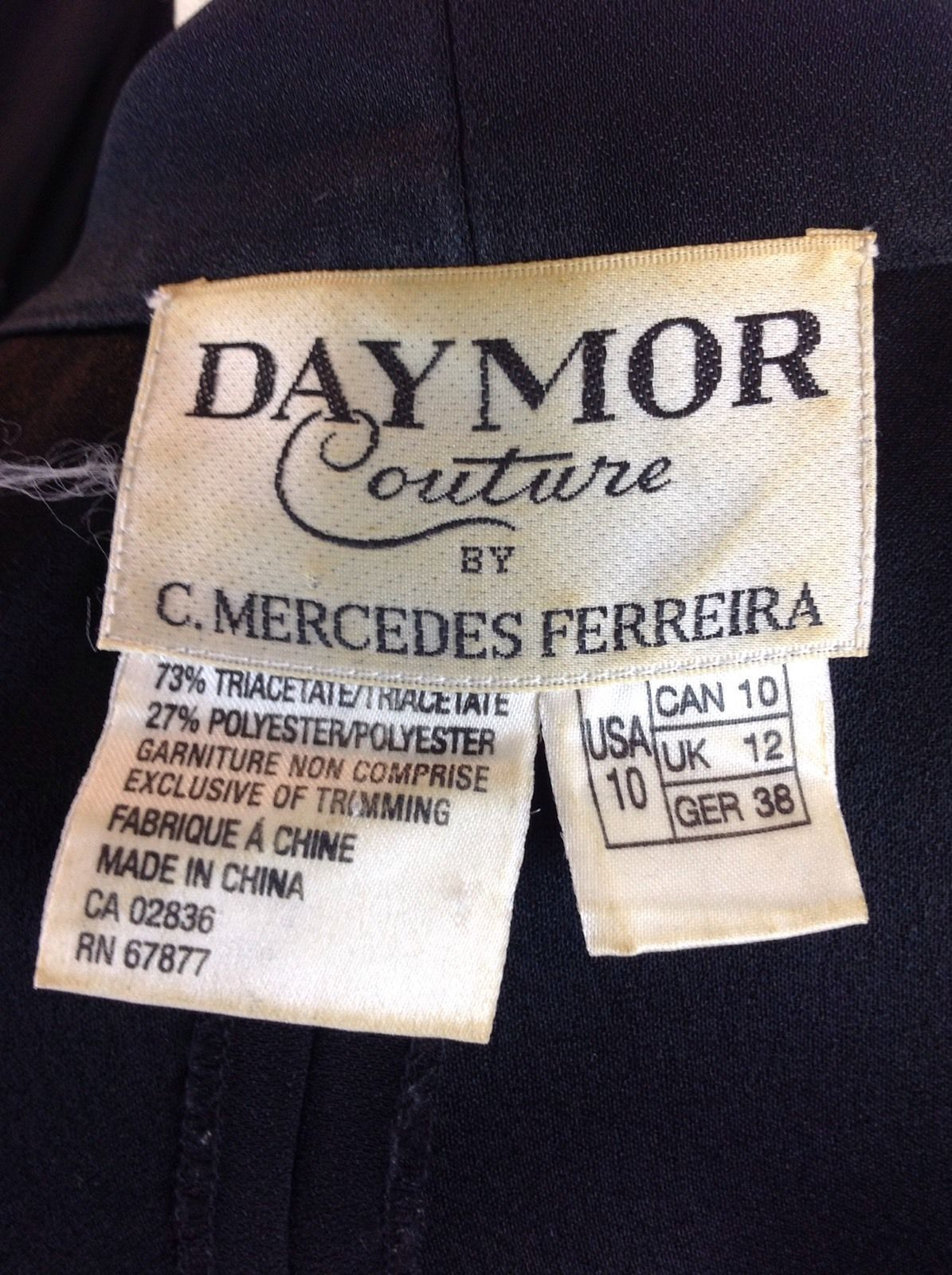 Daymor Couture C Mercedes Ferreira Retro 1940s Dress Hollywood Glam NYE Party M