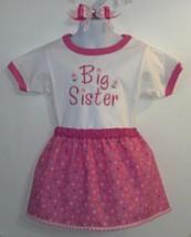Embroidered Toddler T-Shirt, Skirt & Barrette - Big Sister - Size 3T - $21.95