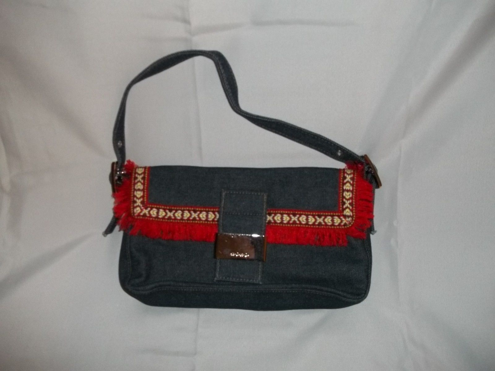 XOXO Denim With a Fringe Handbag Purse Retro Flair Adjustable Strap