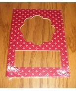 Scallop red pindot double mat opening 5x7 framing mat cross stitch scrap... - $1.25