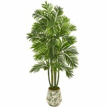 Multicolor 6? Areca Palm Artificial Tree in Vintage Green Floral Planter - 6 Ft. - $328.39