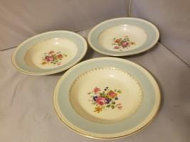 Homer Laughlin Soup Bowls Eggshell Georgian China Robin Egg Blue Set of 3 image 1