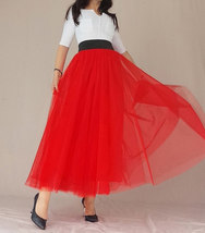 A Line Long Tulle Skirt High Waisted Red Long Tulle Skirt Puffy Tutu Pockets image 5