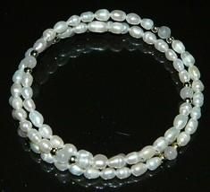 Vtg Freshwater Pearls & White Quartz Gemstone Adjustable Expandable Bracelet - $19.80