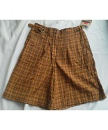 Ladies Francique Yellow Beige Shorts Size L Light weight Gold Plaid pock... - $16.14