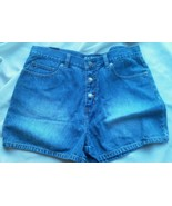 Ladies HIJEANS Blue jean Shorts Size 13 Rugged Worn Button Fly Soft 5 po... - $16.09