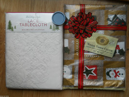 Set 2 Christmas Tablecloths Lace Holiday Holy S... - $29.35