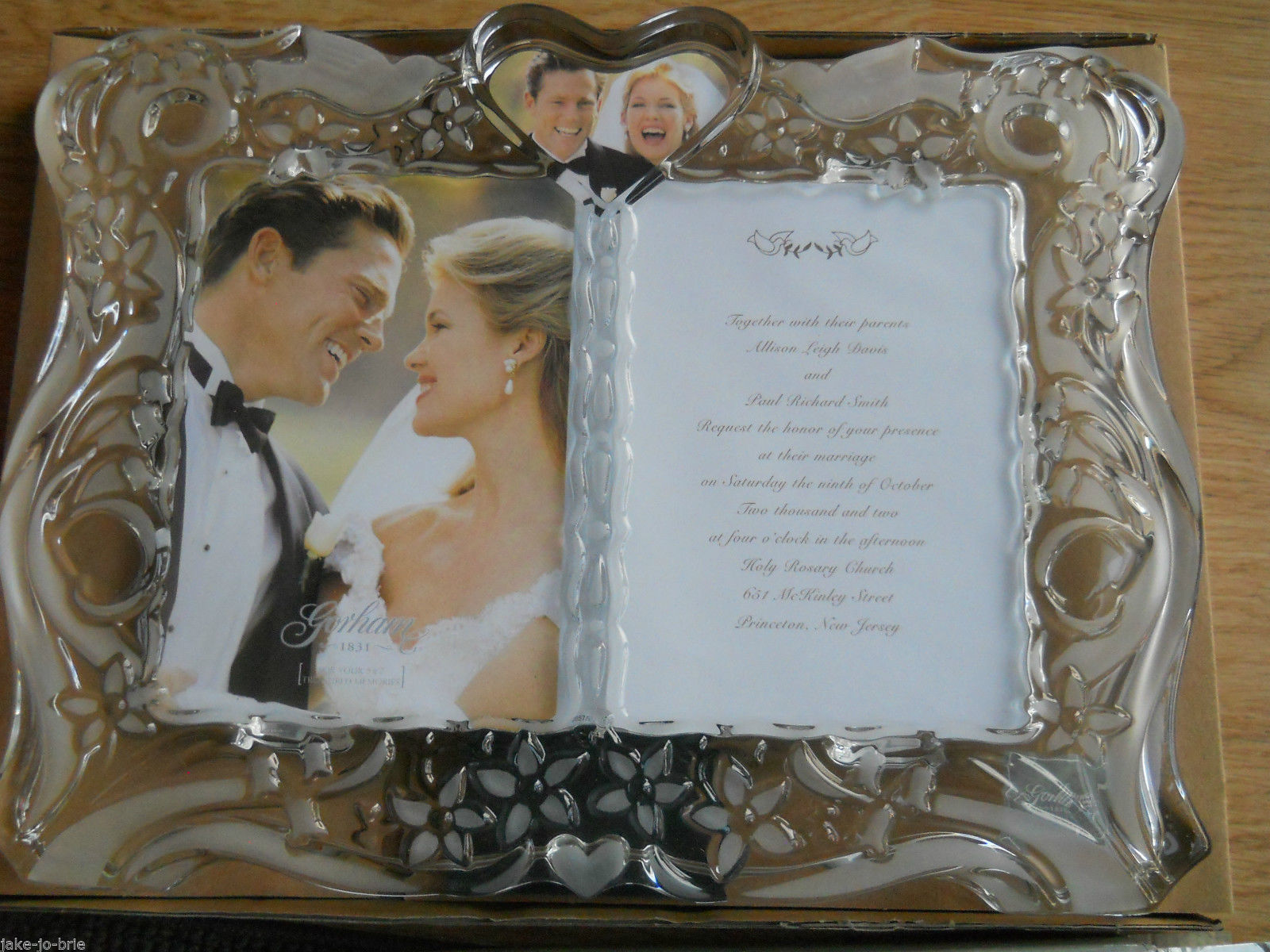 Gorham Invitation Crystal Picture Frame Wedding Sentimental Traditions Glass NEW