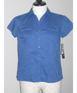 Style & Co  Blue Crinkle Short Sleeve Blouse Si... - $16.00
