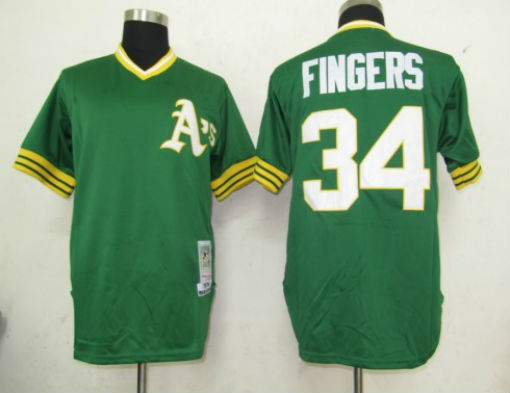 Number 34 Rollie Fingers Jerseys Oakland Athletics green t shirts for sale  USA