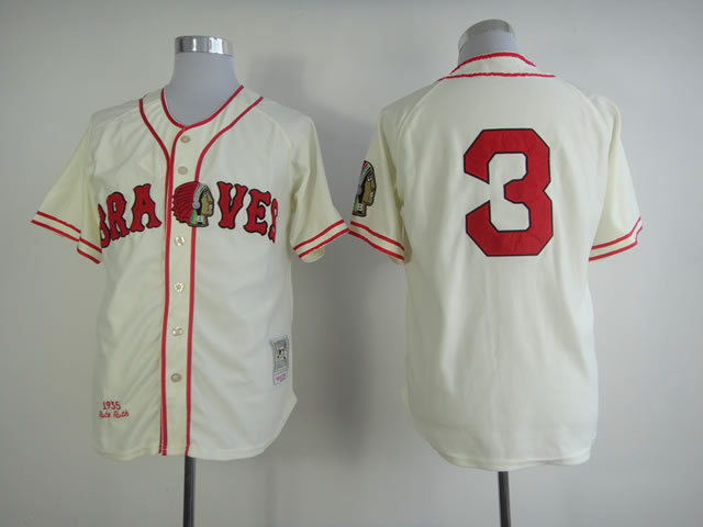 Number 3 Babe Ruth Jerseys Atlanta Braves cream t shirts for sale  USA