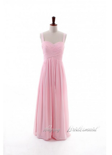 Classic straps simple long light pink chiffon bridesmaid for Simple pink wedding dress